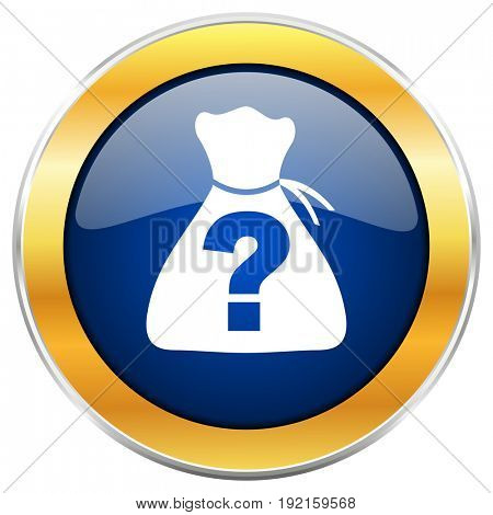 Riddle blue web icon with golden chrome metallic border isolated on white background for web and mobile apps designers.