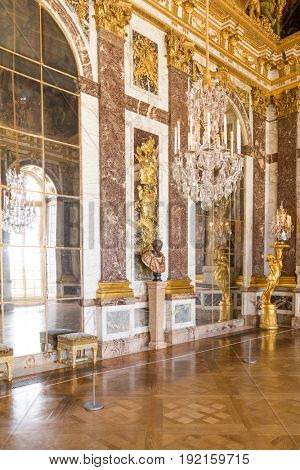Paris, France, March 28 2017: Mirror's hall of Versailles Chateau France
