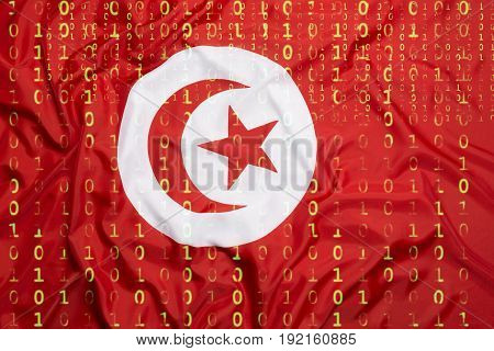 Binary Code With Tunisia Flag, Data Protection Concept