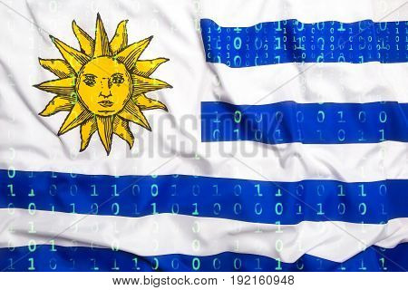 Binary Code With Uruguay Flag, Data Protection Concept