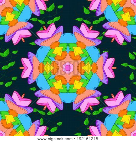 Motley seamless pattern. Vector abstract flower background. Pretty floral print with blue small flowers.