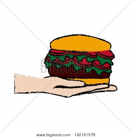 hand holding burger delicious unhealthy fast food vector illustration