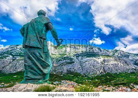 Scenic view at Biokovo mountain landscape over Makarska town, Croatia, Dalmatia region.