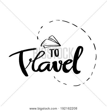 Travel more card hand drawn art isolated on white background ink modern