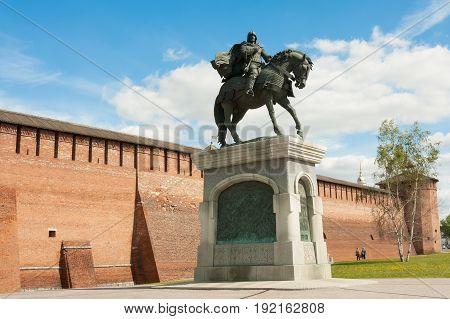Kolomna Russia - May 22 2017: Monument To Dmitry Donskoy Near Marinkina Tower Of Kremlin In Sunny Spring Day In Kolomna Moscow Region.