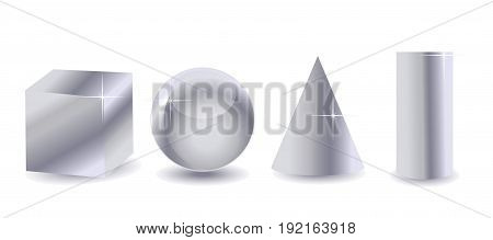 Platonic solids abstract still life composition on white background