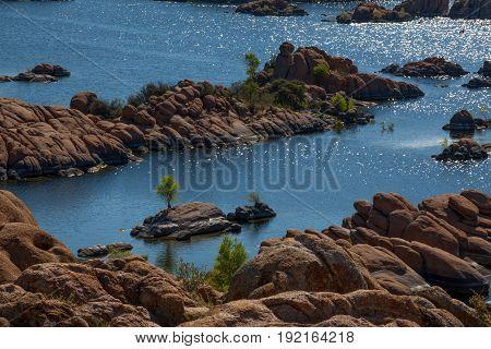 Watson Lake Rock Formations Recreation Prescott Island and Tree