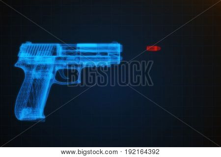 3D Illustration Of A Pistol Shooting