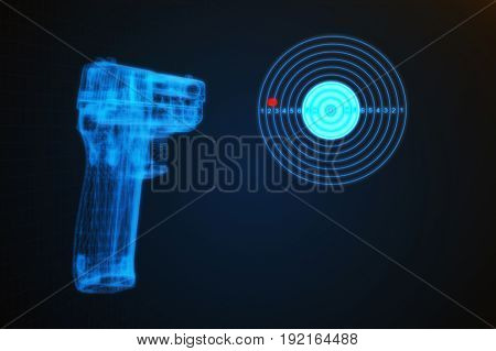 3D Illustration Of A Pistol Shooting At A Target