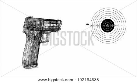 Shot Of A Gun In A Target On A White Background 3D Illustration