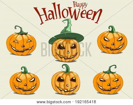 Set pumpkins for Halloween. Set of spooky halloween jack o lanterns. Halloween pumpkin orange scary holiday jack o lanterns symbol.