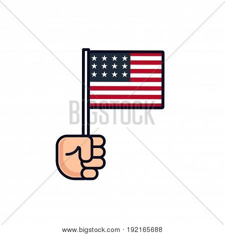 4th July. Patriotic icon. Independence Day of America. label. Hand with american flag isolated on white background. National celebration. Flat line design