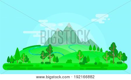 Vector Summer Landscape With Mountains And Trees