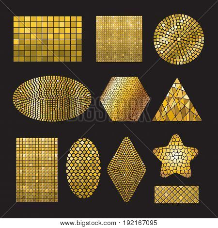 Set of Golden Mosaic ceramic tile design elements in different forms: square, circle, triangle, oval, rectangle, polyhedron, rhombus, star. Abstract gold texture background. Vector illustration
