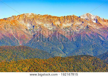 Autumn view of Mount Chugush. Caucasus Mountains Sochi. Russia.