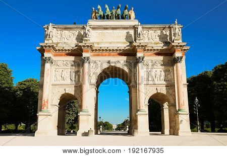 Arc de Triomphe du Carroussel Near the Louvre Museum in Paris, France.