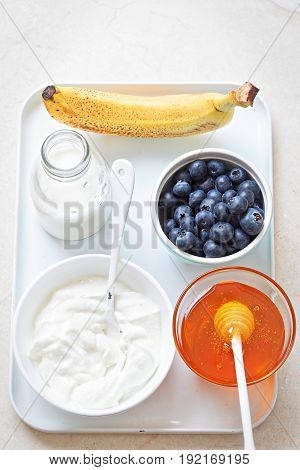 Blueberry, yoghurt honey - smoothie, ice cream ingredients
