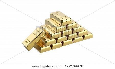 3D illustration closeup isolated shiny pyramid of group gold bars on a white background