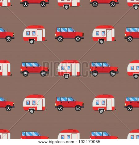 Campers vacation travel car summer nature holiday trailer house vector illustration flat transport. Classic caravan campsite automobile retro minivan camp vintage bus seamless pattern.