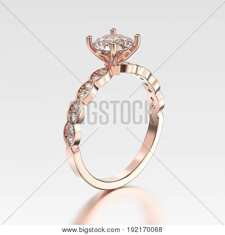 3D illustration rose gold ring with diamonds with reflection on a grey background