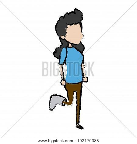 cartoon girl patient with broken leg vector illustration