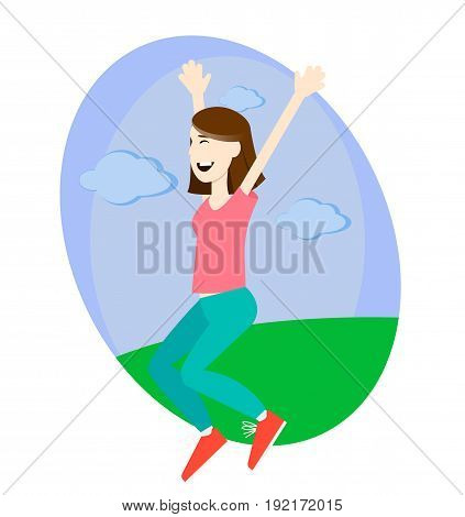 Happy girl jumping up with excitement outdoors vector illustration
