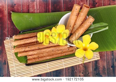 Gold Candy Rolls ,thai Sweetmeat Made Of Flour, Coconut Milk And Egg .