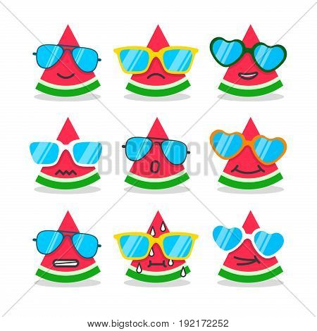 Cartoon watermelon emojis with emotion. Summer stickers flat style. Fruit faces