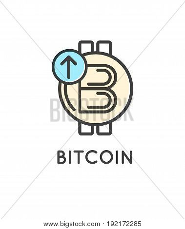 Bitcoin technology vector modern icon, virtual crypto currency services.
