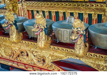 BALI, INDONESIA - MARCH 08, 2017: Hindu musical instruments inside of the temple, traditional national instruments, in Denpasar, Bali Indonesia.