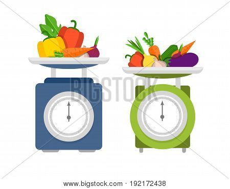 Kitchen scales with vegetables flat vector illustration.