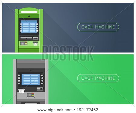 ATM machine in bank or office banners.