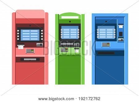 ATM machines vector set in flat style. Bank terminal.