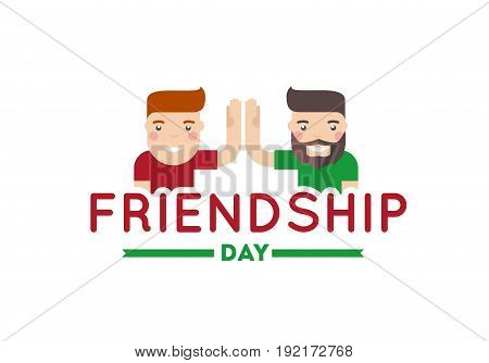 Happy friendship day vector illustration. Two smiling man happiness.