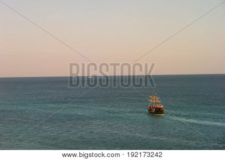 Pirate Ship Sailing on the Water in the Ocean