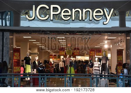 KING OF PRUSSIA, PA - MAY 6: JCPenney store at King of Prussia Mall in Pennsylvania, as seen on May 6, 2017. It is the largest shopping mall in the United States of America in terms of leasable retail space.