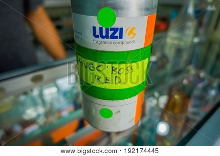 BALI, INDONESIA - MARCH 08, 2017: Close up of an essence of Hugo Boss inside of bottle in Denpasar in Indonesia.
