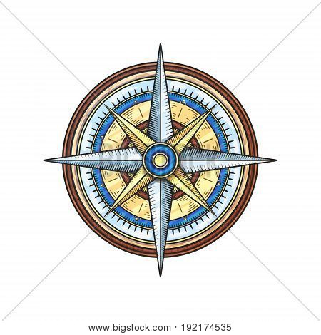 Cartoon vintage wind rose. Isolated vector illustration.