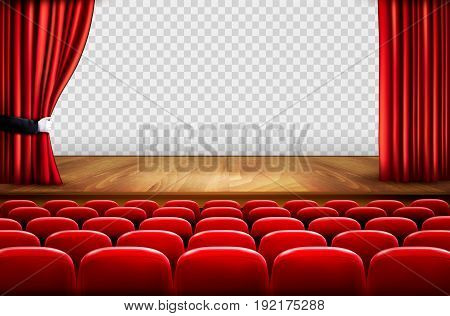 Theater stage with wooden floor and open red curtains. Vector