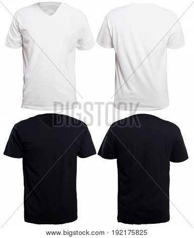 Blank v-neck shirt mock up template front and back view isolated on white plain black and white t-shirt mockup. V Neck tee design presentation for print.