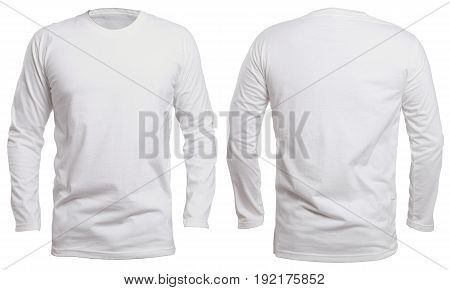 Blank long sleve shirt mock up template front and back view isolated on white plain white t-shirt mockup. Long sleeved tee design presentation for print.