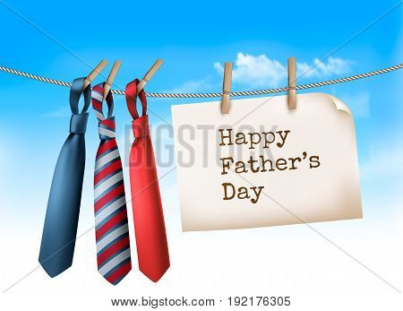 Happy Father's Day Background With A Three Ties On Rope. Vector illustration