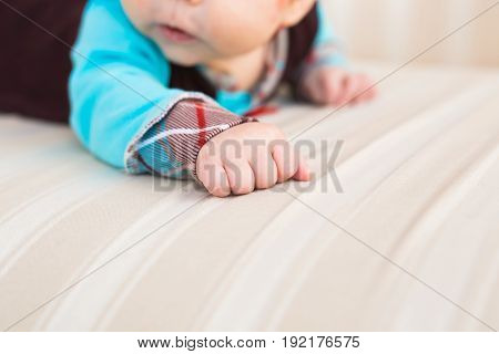 Close-up of a newborn baby boy's hand