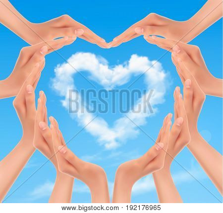 Holiday background with hands making a heart. Valentine's Day. Vector