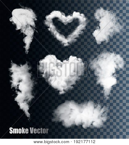 Transparent set of cloud and smoke vectors