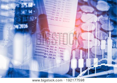 Stock market graph and business financial data view on LED. Business graph and stock financial indicator including stock or marketing analysis. Business financial background. Double exposure business graph on stock market financial exchange