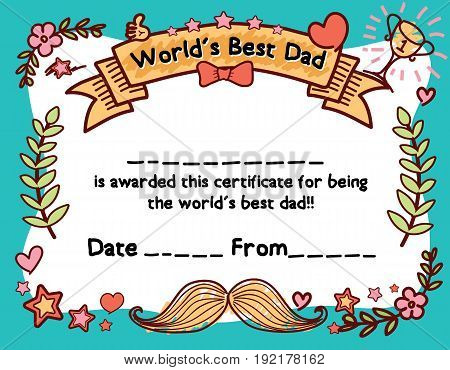World's Best Dad Award Certificate Template For Father's Day. Hand draw