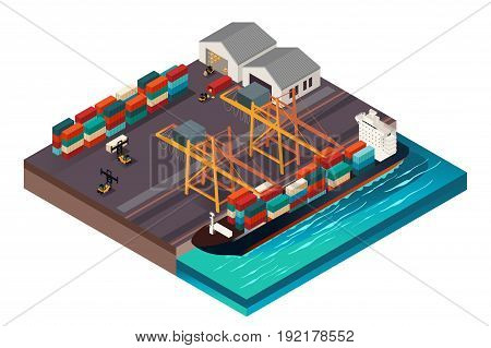 A vector illustration of Isometric Design of a Shipping Port