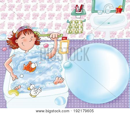 Baby girl washes, with soap in bathtub