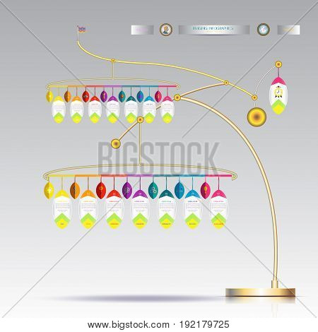 3D Infographic template hanging with number 14 stepBusiness concept with and options. For content diagram flowchart steps parts timeline infographics workflow layout chartVector illustration